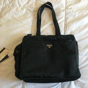 Prada Viaggio Black Diaper Tote Bag Big